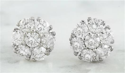 1.00 CTW 18K White Gold Diamond Earrings