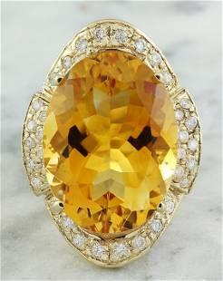 17.06 CTW Citrine 18K yellow Gold Diamond Ring