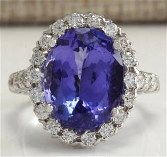 9.39 CTW Natural Tanzanite And Diamond Ring 18K Solid