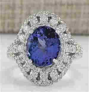 6.46 CTW Natural Tanzanite And Diamond Ring In 14K