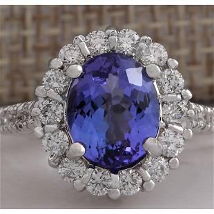 4.54 CTW Natural Blue Tanzanite And Diamond Ring 18K