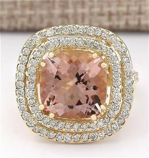 8.19 CTW Natural Morganite And Diamond Ring In 18K