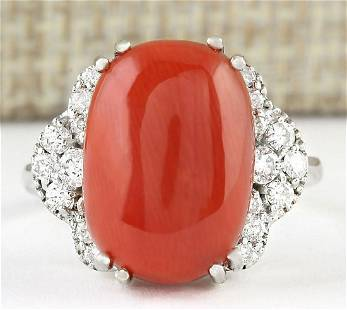 8.86 CTW Natural Coral And Diamond Ring In 18K White