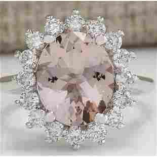 4.72 CTW Natural Peach Morganite And Diamond Ring In