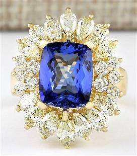 6.33 CTW Natural Blue Tanzanite And Diamond Ring 18K