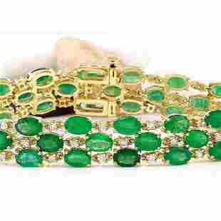 25.25 CTW Natural Emerald 18K Solid Yellow Gold Diamond