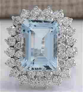 9.17 CTW Natural Aquamarine And Diamond Ring In 18K