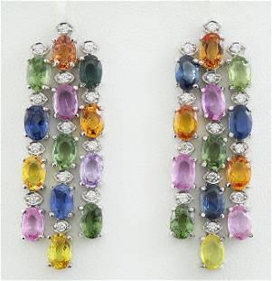 16.70 CTW sapphire 14K White Gold Diamond Earrings