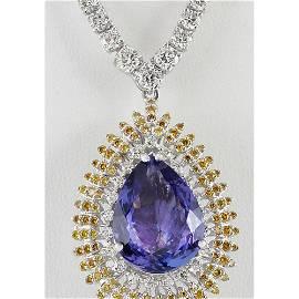 25.48 CTW Natural Tanzanite And Diamond Necklace 18K