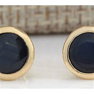 3.21 CTW Natural Blue Sapphire Earrings 18K Solid