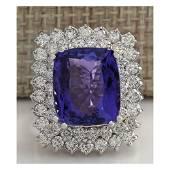 12.40 CTW Natural Blue Tanzanite And Diamond Ring 14K