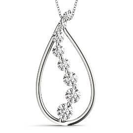 Natural 0.96 CTW Diamond Pendant 18K White Gold