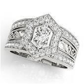 Natural 0.87 CTW Diamond Ring 14K White Gold