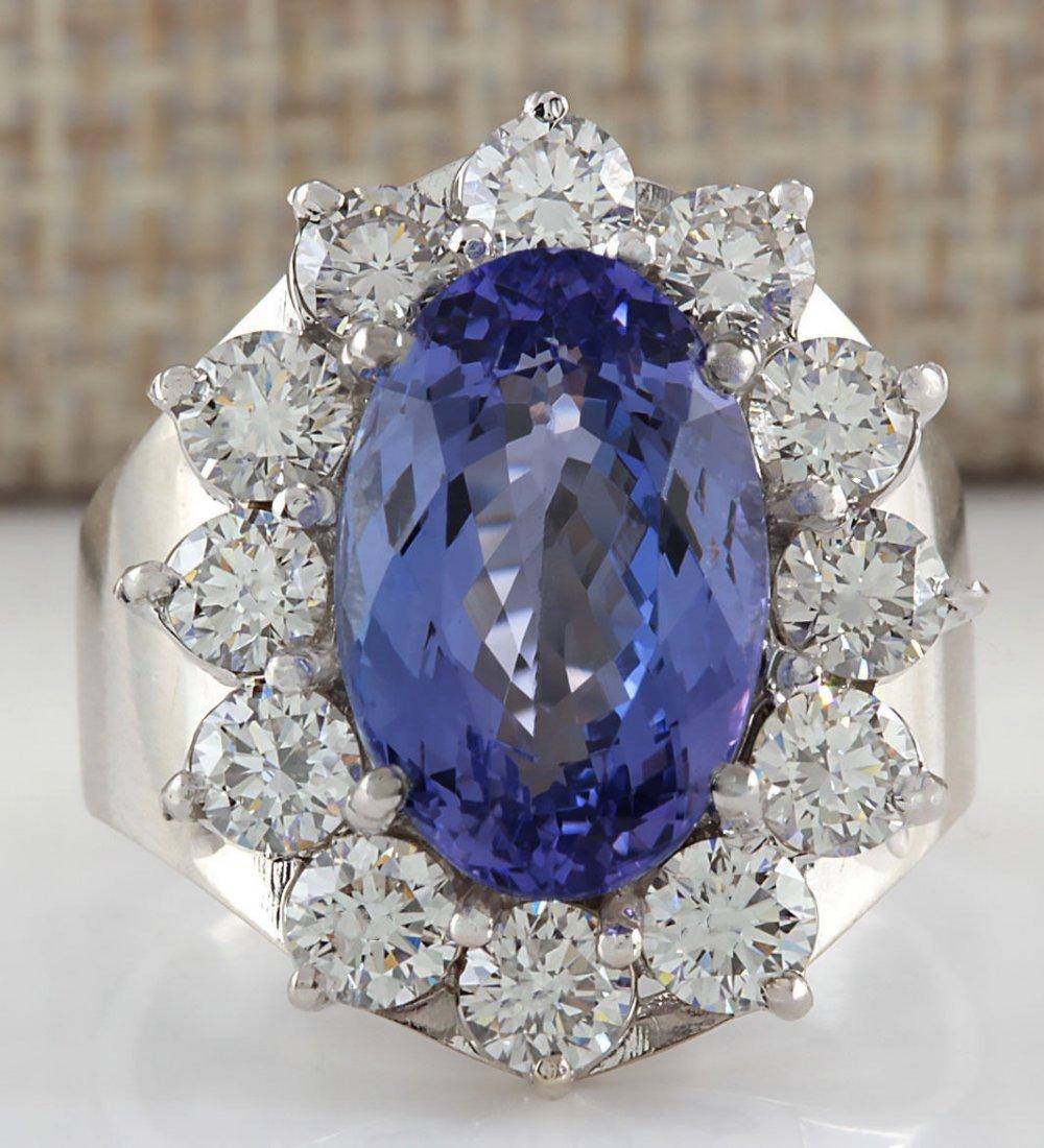 9.35CTW NATURAL BLUE TANZANITE AND DIAMOND RING 14K