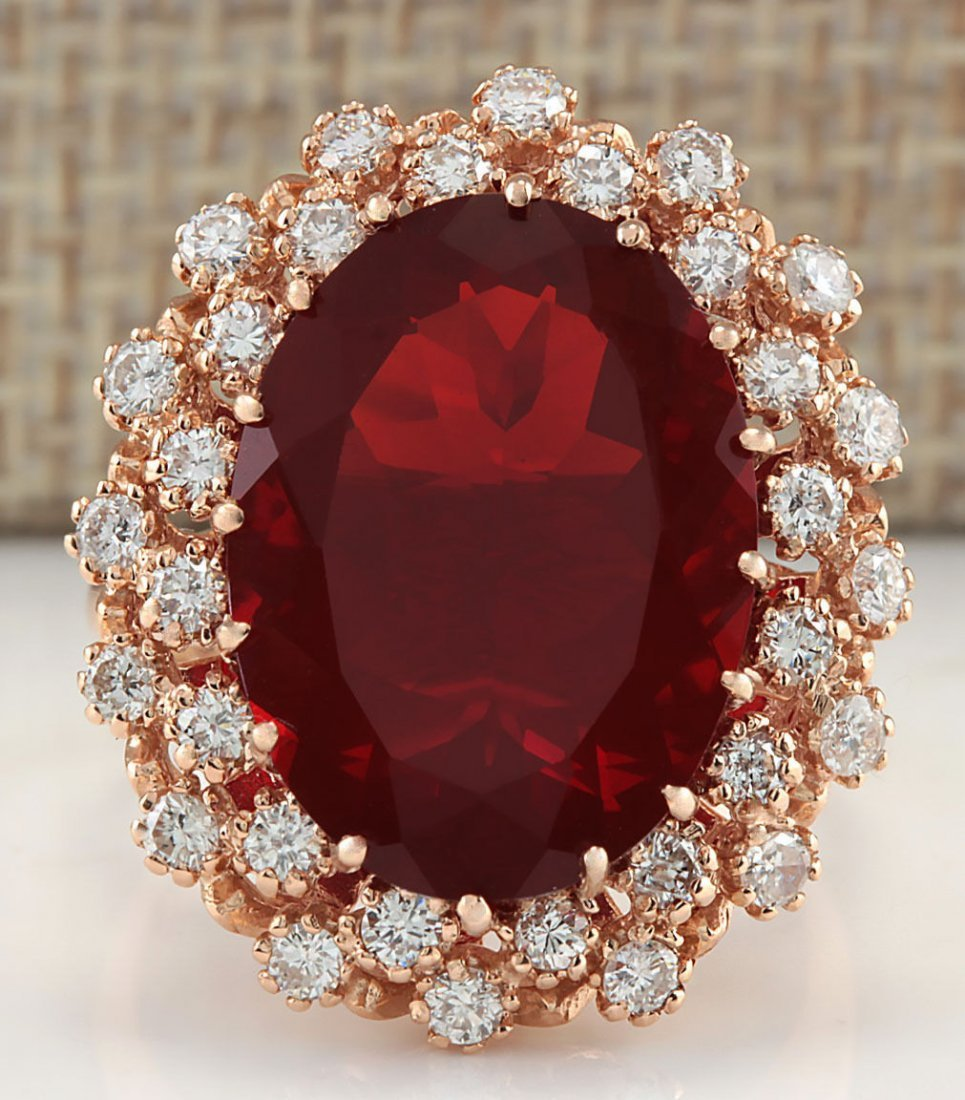 9.30CTW NATURAL MEXICAN FIRE OPAL AND DIAMOND RING 14K