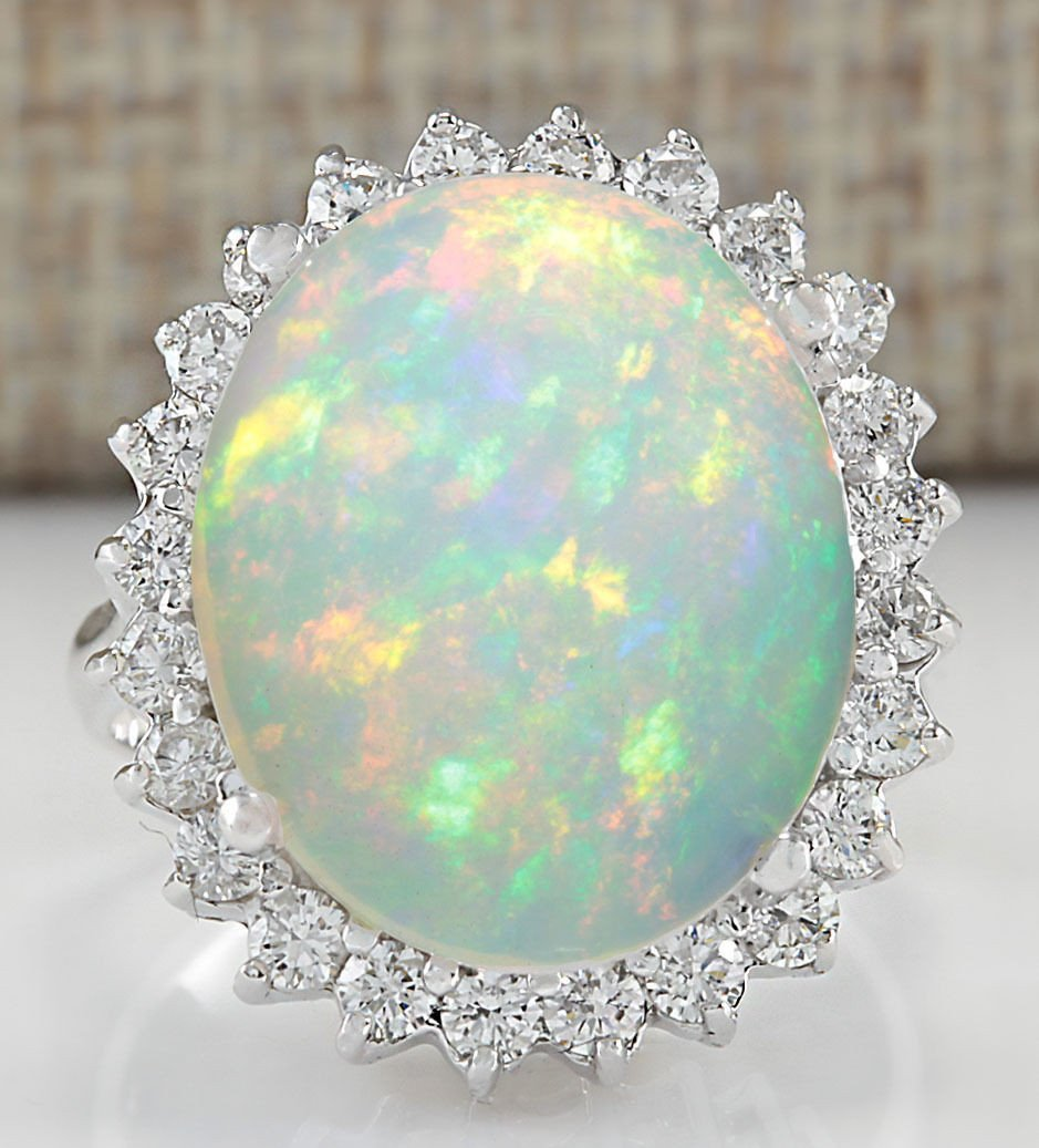 9.01CTW NATURAL OPAL AND DIAMOND RING 14K SOLID WHITE