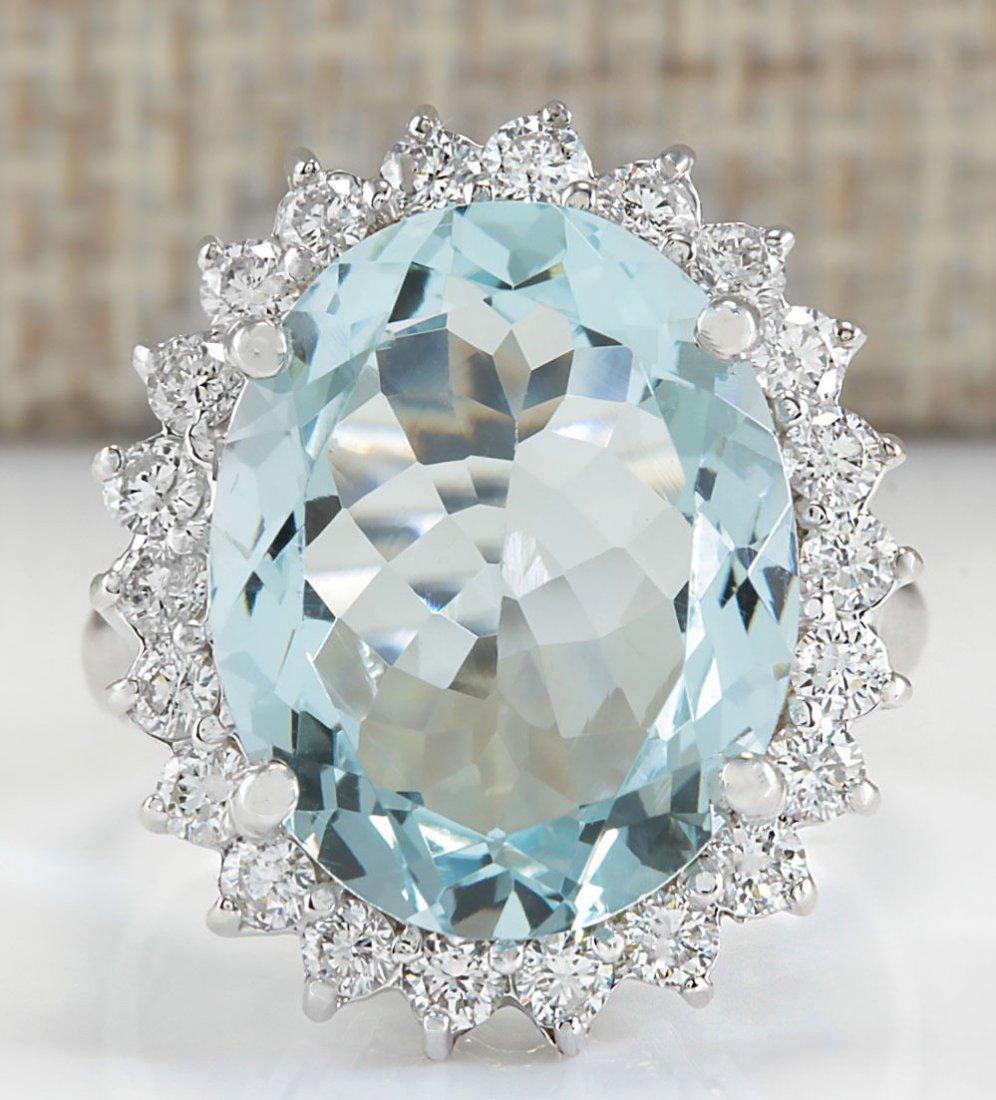 8.91CTW NATURAL AQUAMARINE AND DIAMOND RING IN 14K