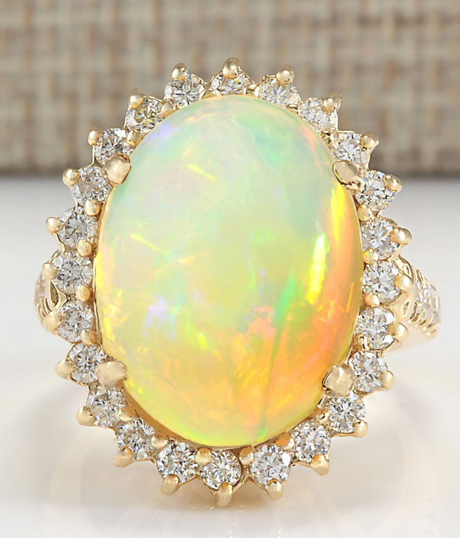 8.88CTW NATURAL OPAL AND DIAMOND RING IN 14K YELLOW