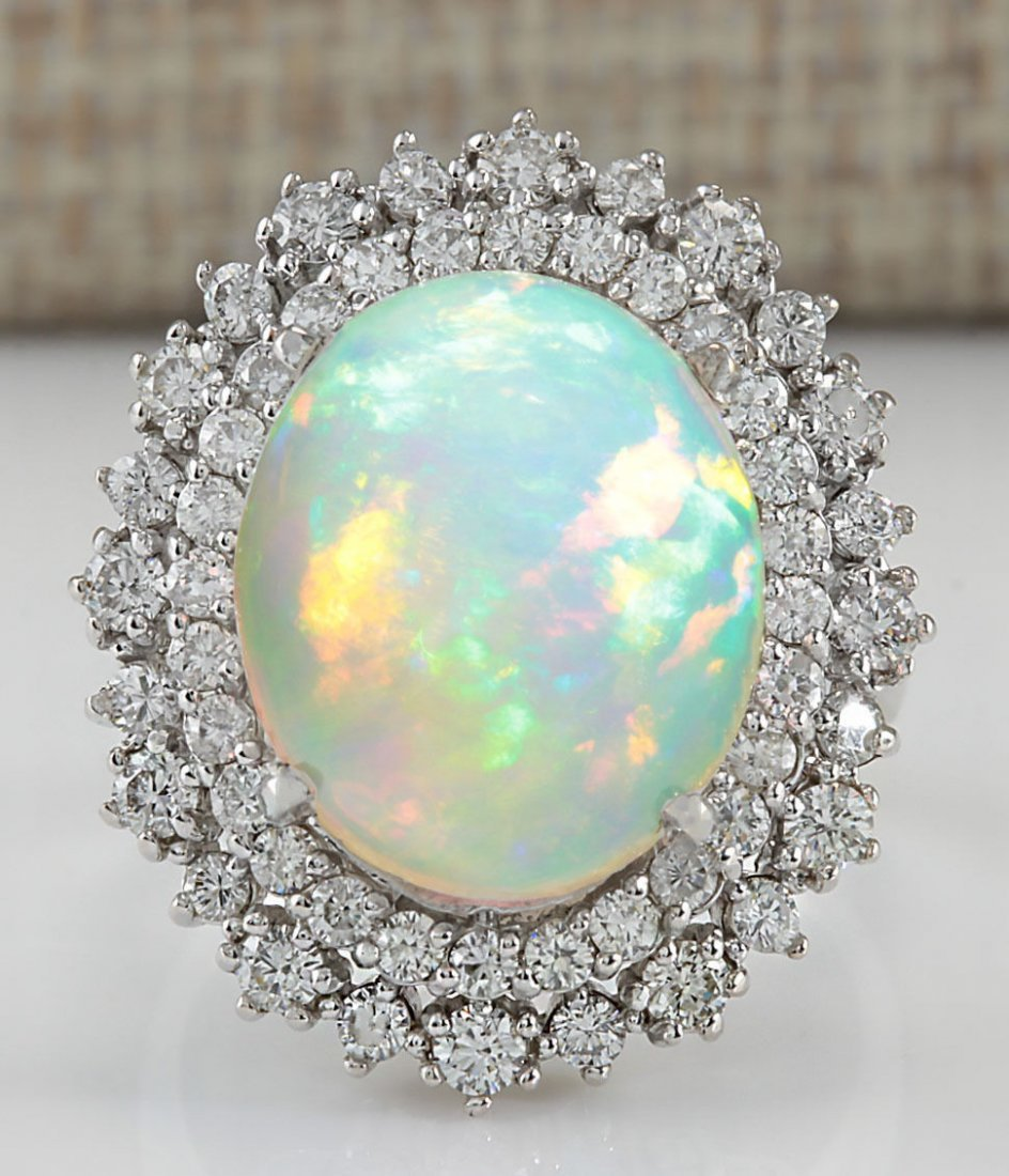 8.70CT NATURAL OPAL AND DIAMOND RING IN14K WHITE GOLD