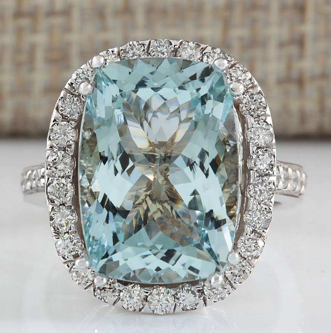 8.62CTW NATURAL BLUE AQUAMARINE DIAMOND RING 14K SOLID