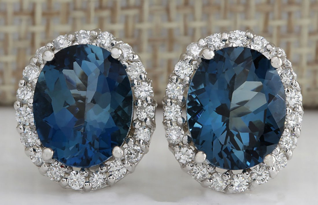 8.55CTW NATURAL TOPAZ AND DIAMOND EARRINGS 14K SOLID