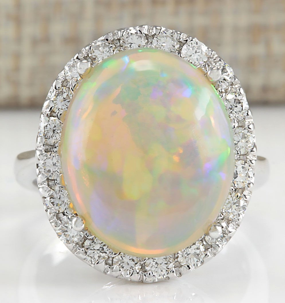 8.30CTW NATURAL OPAL AND DIAMOND RING 14K SOLID WHITE