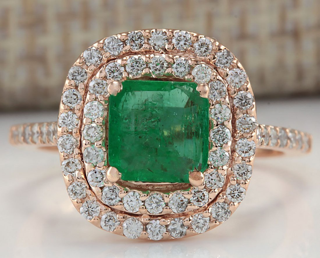 2.02CTW NATURAL COLOMBIAN EMERALD AND DIAMOND RING IN