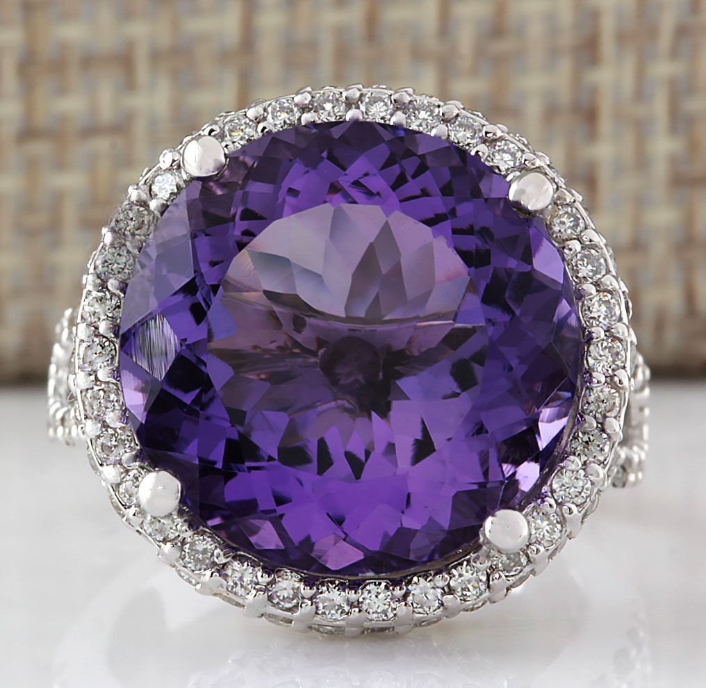 13.81CTW NATURAL AMETHYST AND DIAMOND RING IN 14K SOLID
