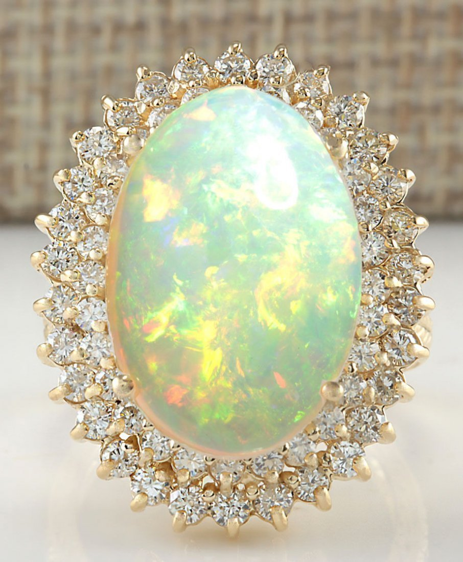 10.38CTW NATURAL OPAL AND DIAMOND RING 14K SOLID YELLOW