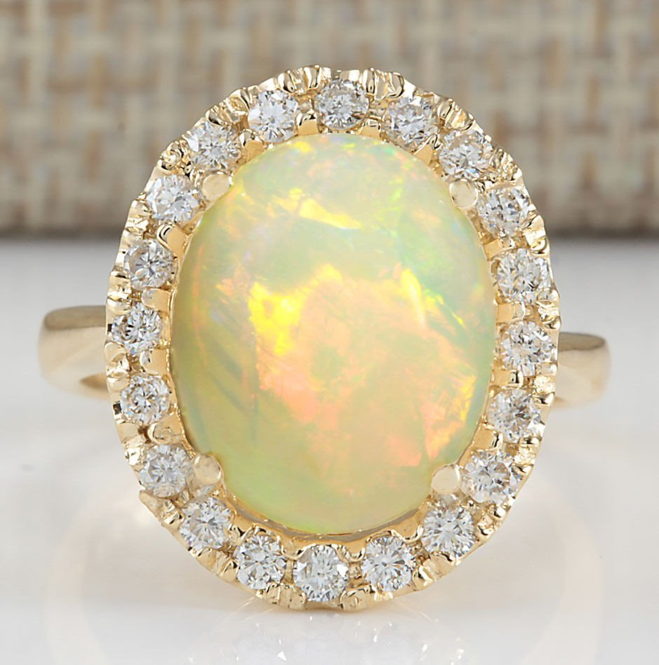 4.90CTW Natural Opal And Diamond Ring In 14K Yellow
