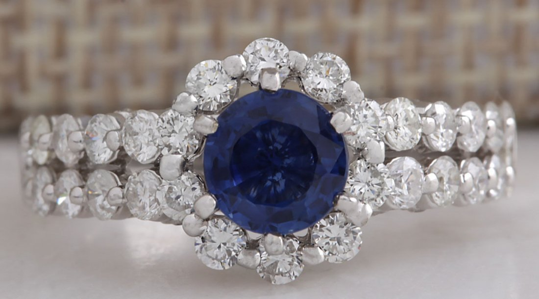 2.28CTW Natural Blue Sapphire Diamond Ring 14K Solid