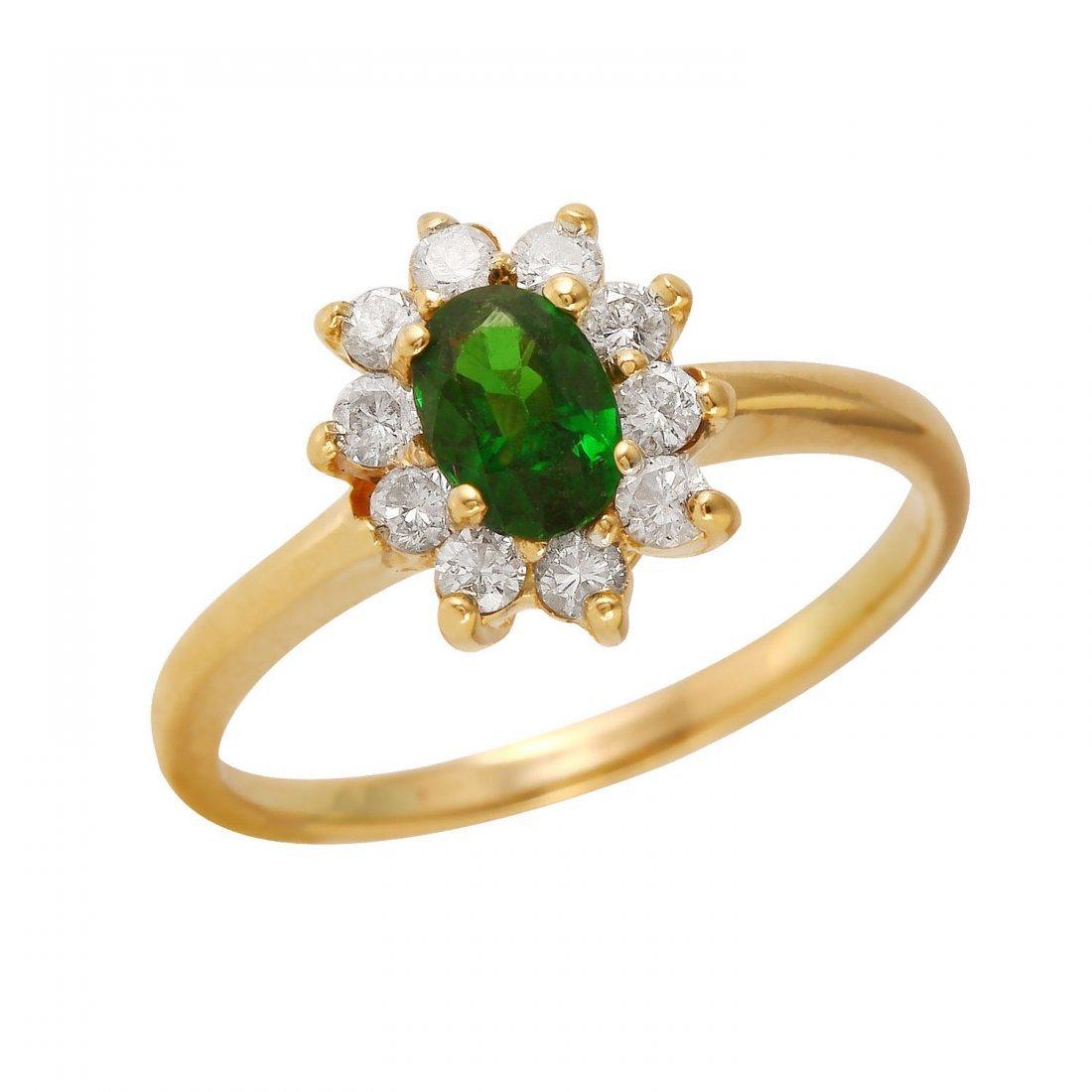 Ladies 0.85CTW Diopside And Diamond 14K Yellow Gold