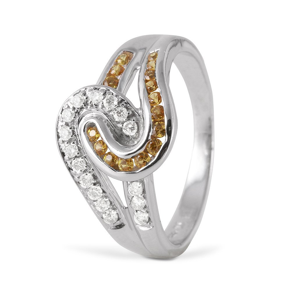 Ladies 0.56CTW Diamond And Sapphire 14K White Gold Ring