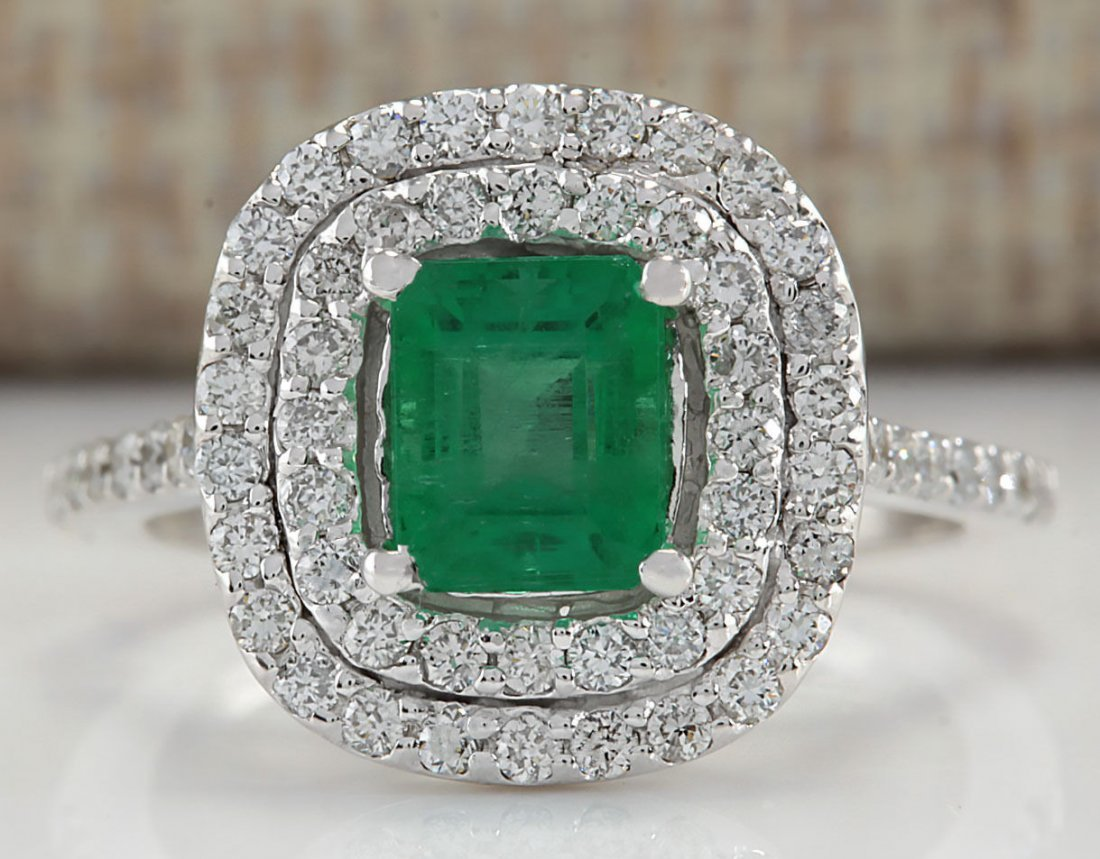 2.00CTW Natural Colombian Emerald And Diamond Ring In