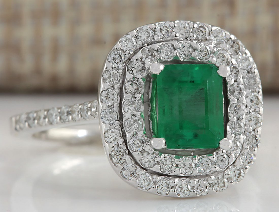 2.00CTW Natural Colombian Emerald And Diamond Ring In - 2