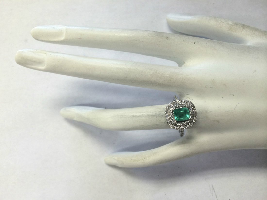 2.00CTW Natural Colombian Emerald And Diamond Ring In - 4
