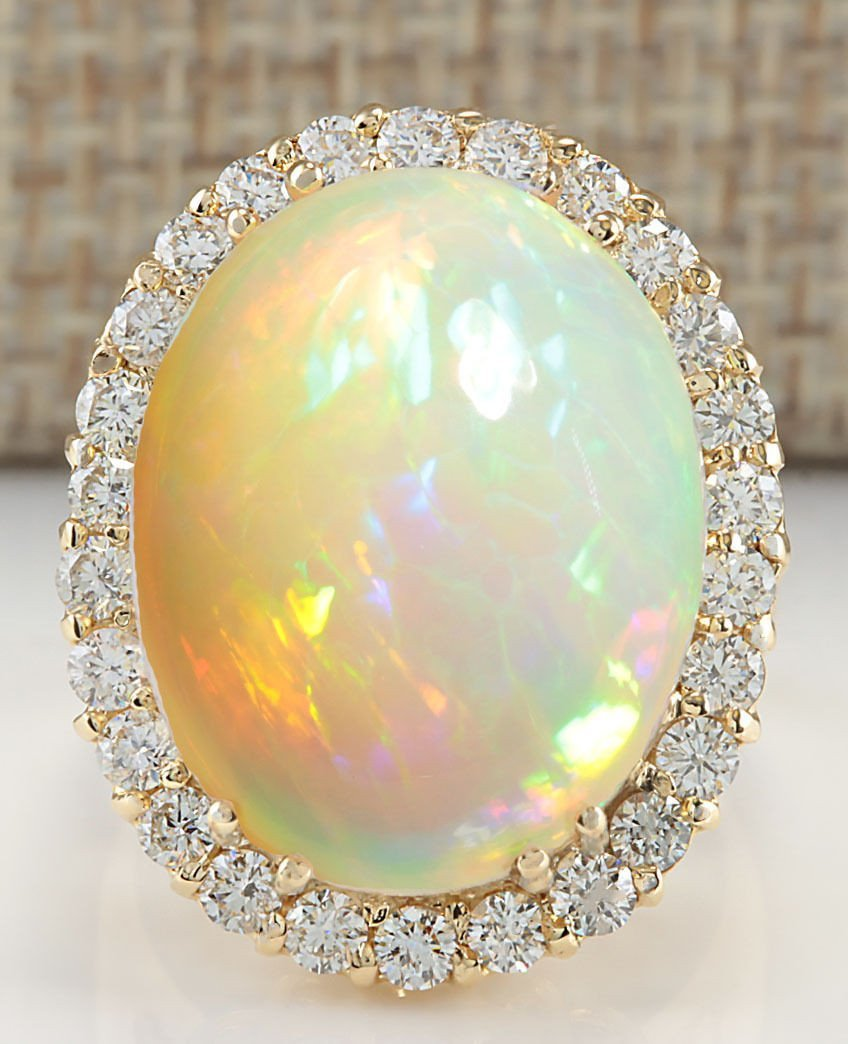 15.88CTW Natural Opal And Diamond Ring 14K Solid Yellow