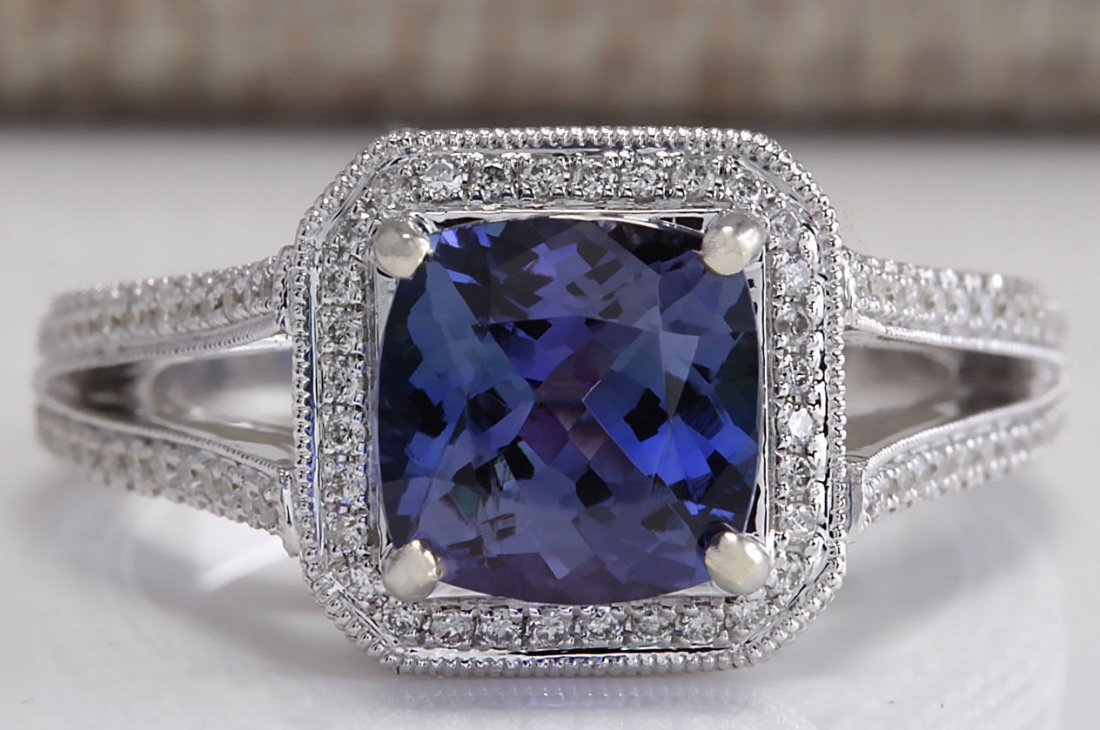 3.67CTW Natural Blue Tanzanite And Diamond Ring In 14K