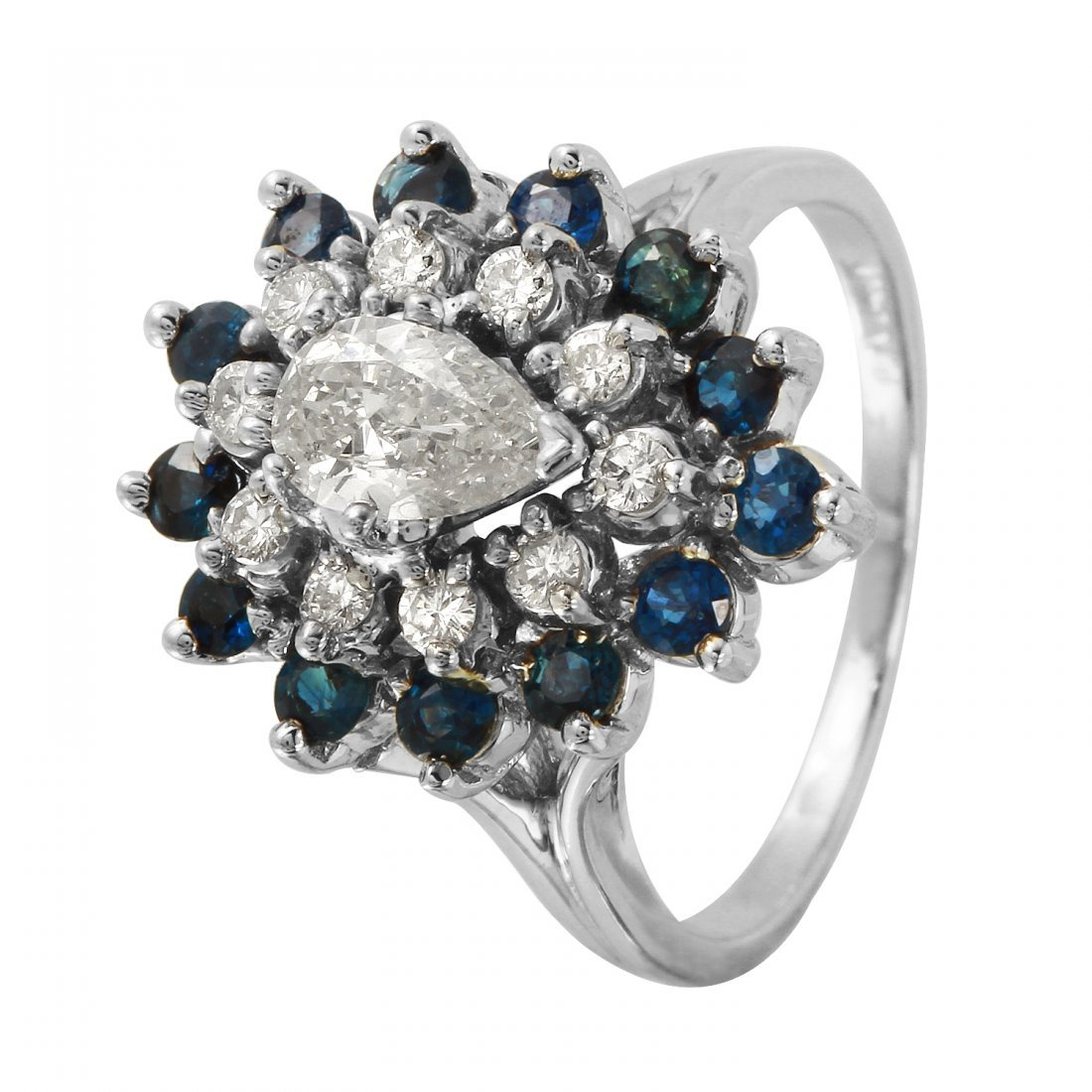 Ladies 1.9CTW Diamond And Sapphire 14K White Gold Ring