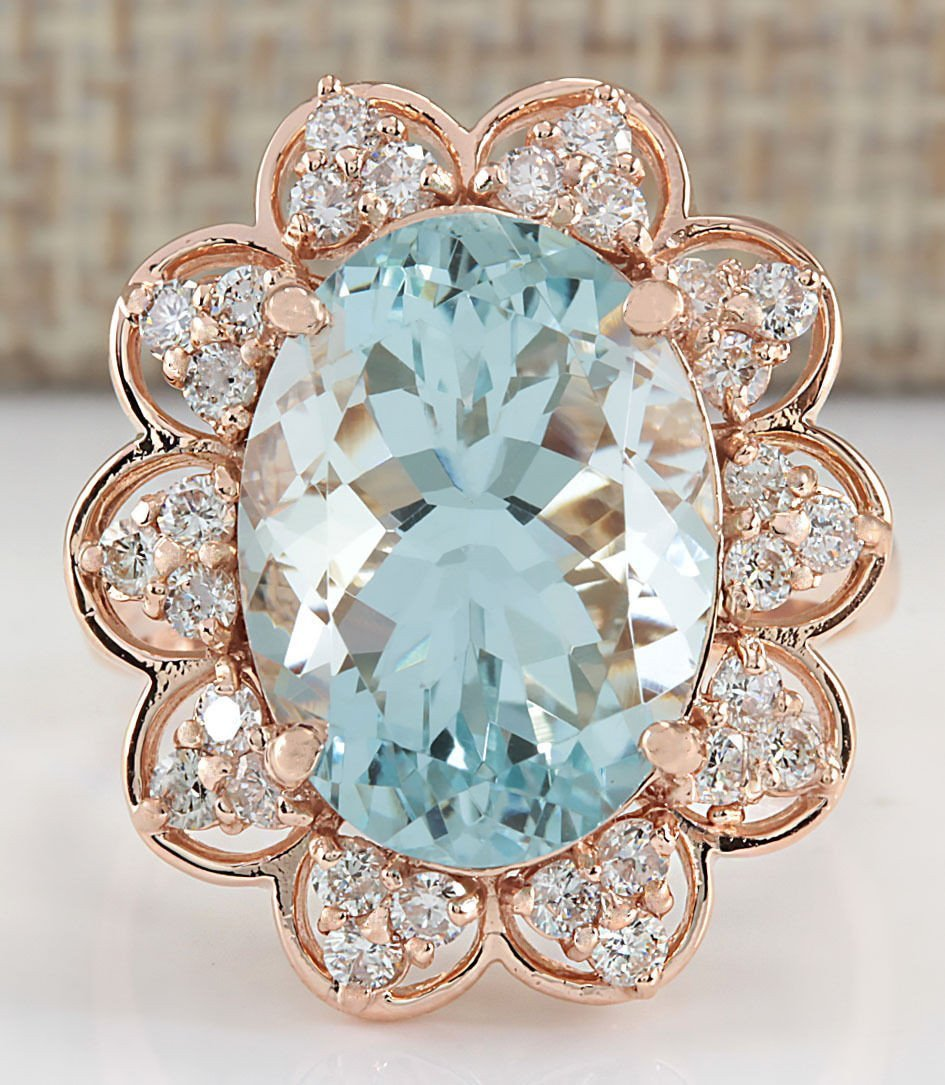 8.16CTW Natural Aquamarine And Diamond Ring In 14K Rose