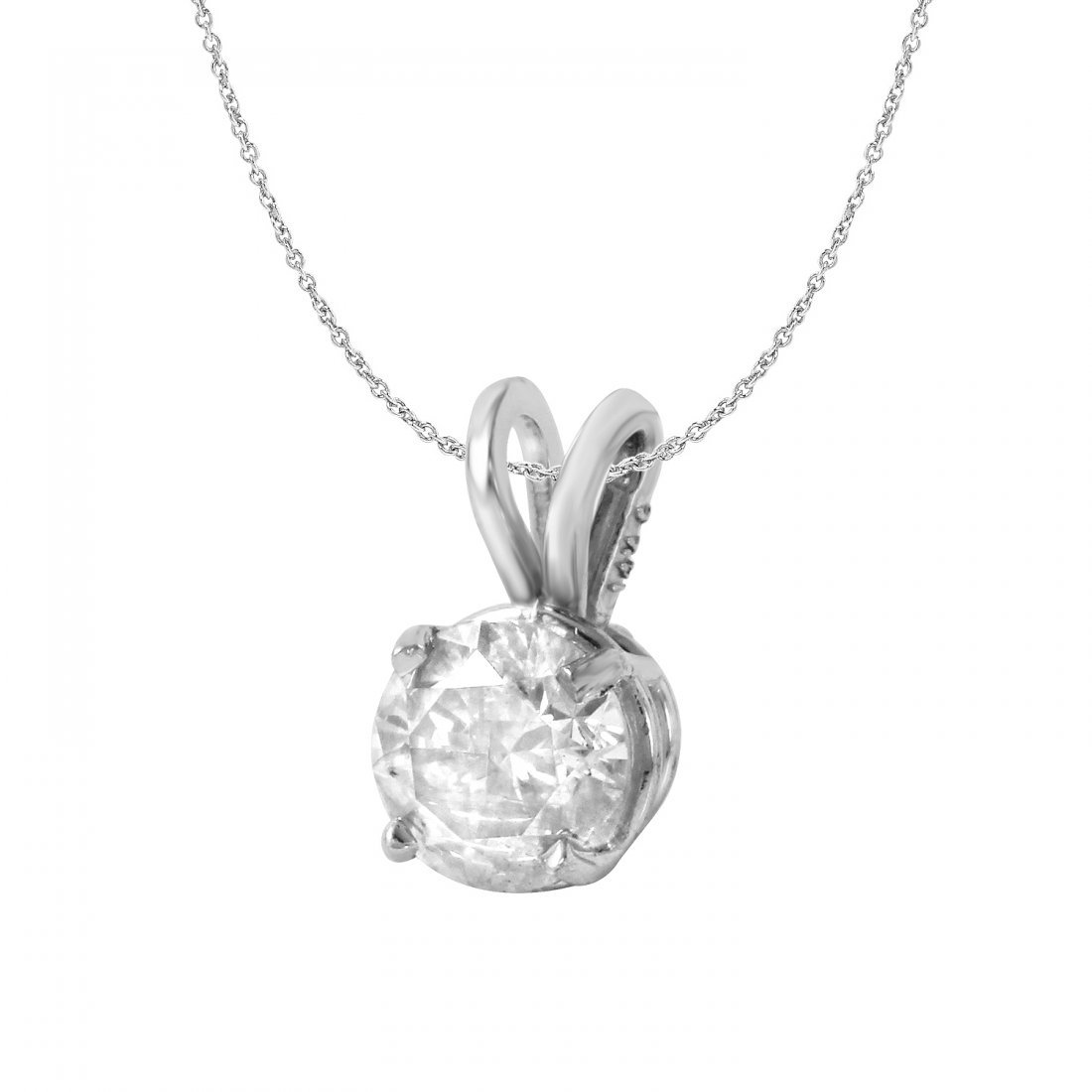 Ladies 0.76CTW Diamond 14K White Gold Necklace
