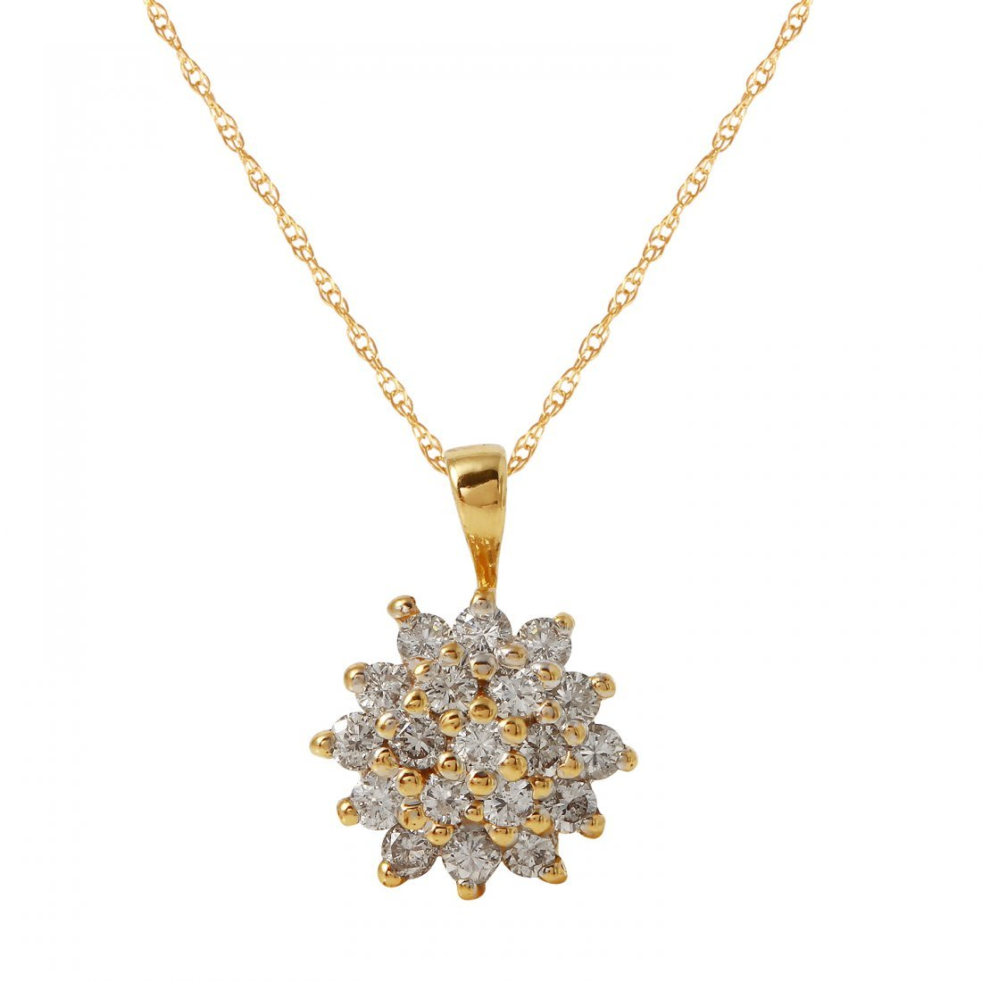 Ladies 0.57CTW Diamond 14K Yellow Gold Necklace