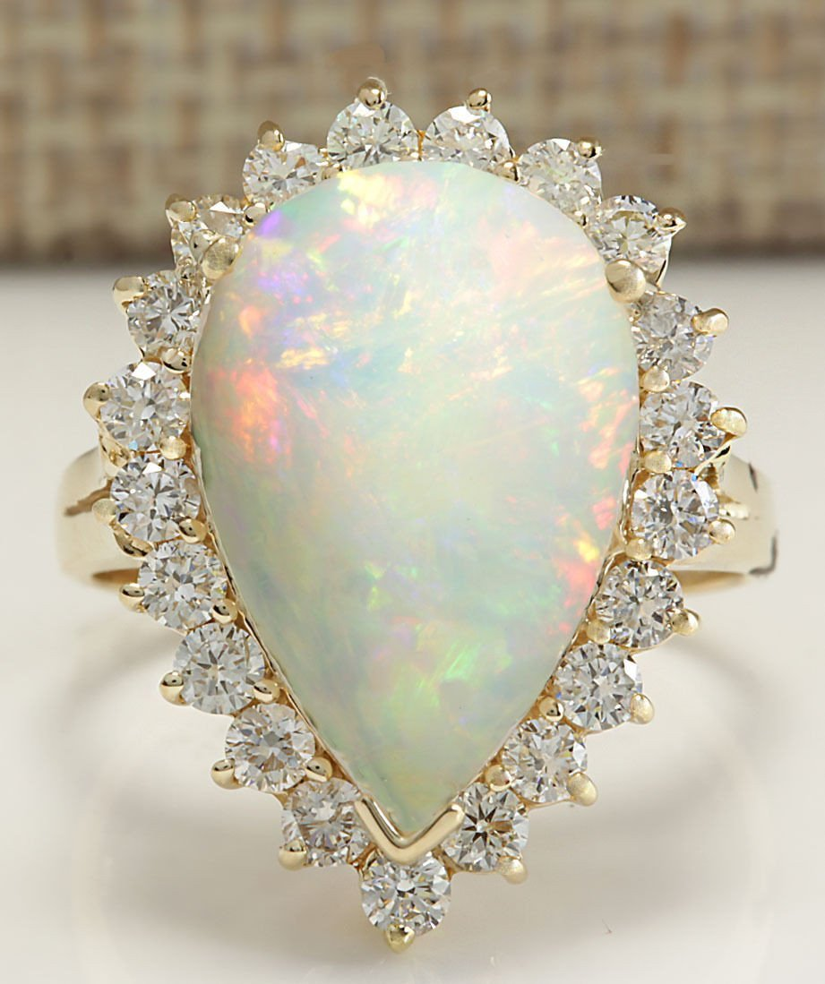 5.98CTW Natural Opal And Diamond Ring In 14K Solid