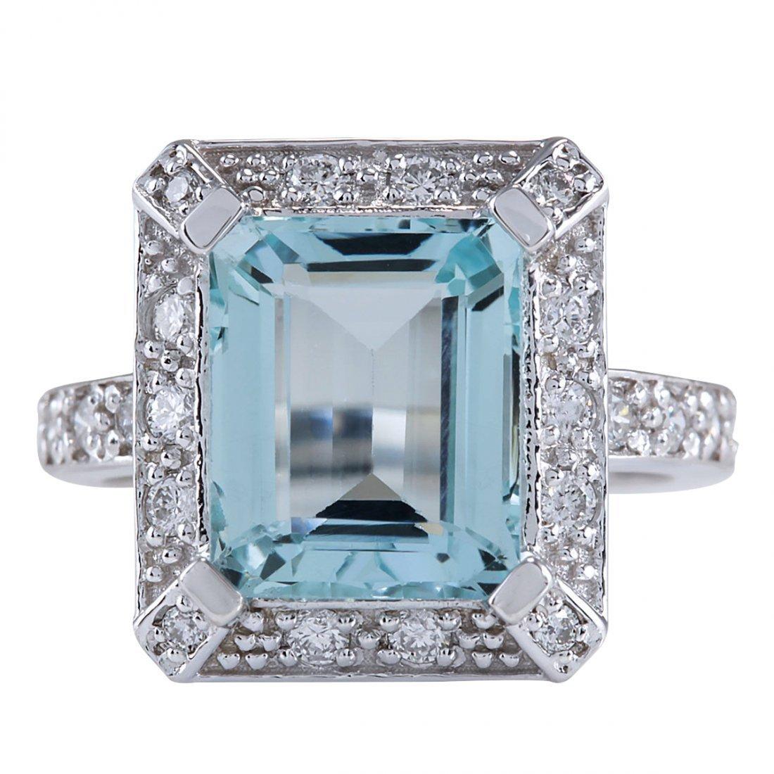 4.85CTW Natural Aquamarine And Diamond Ring In 14K