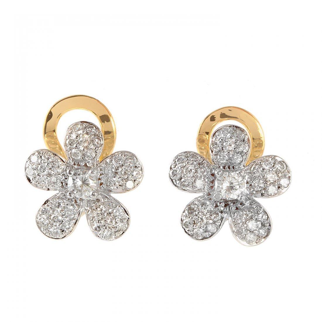 Ladies 1CTW Diamond 18k Two tone Gold Earrings