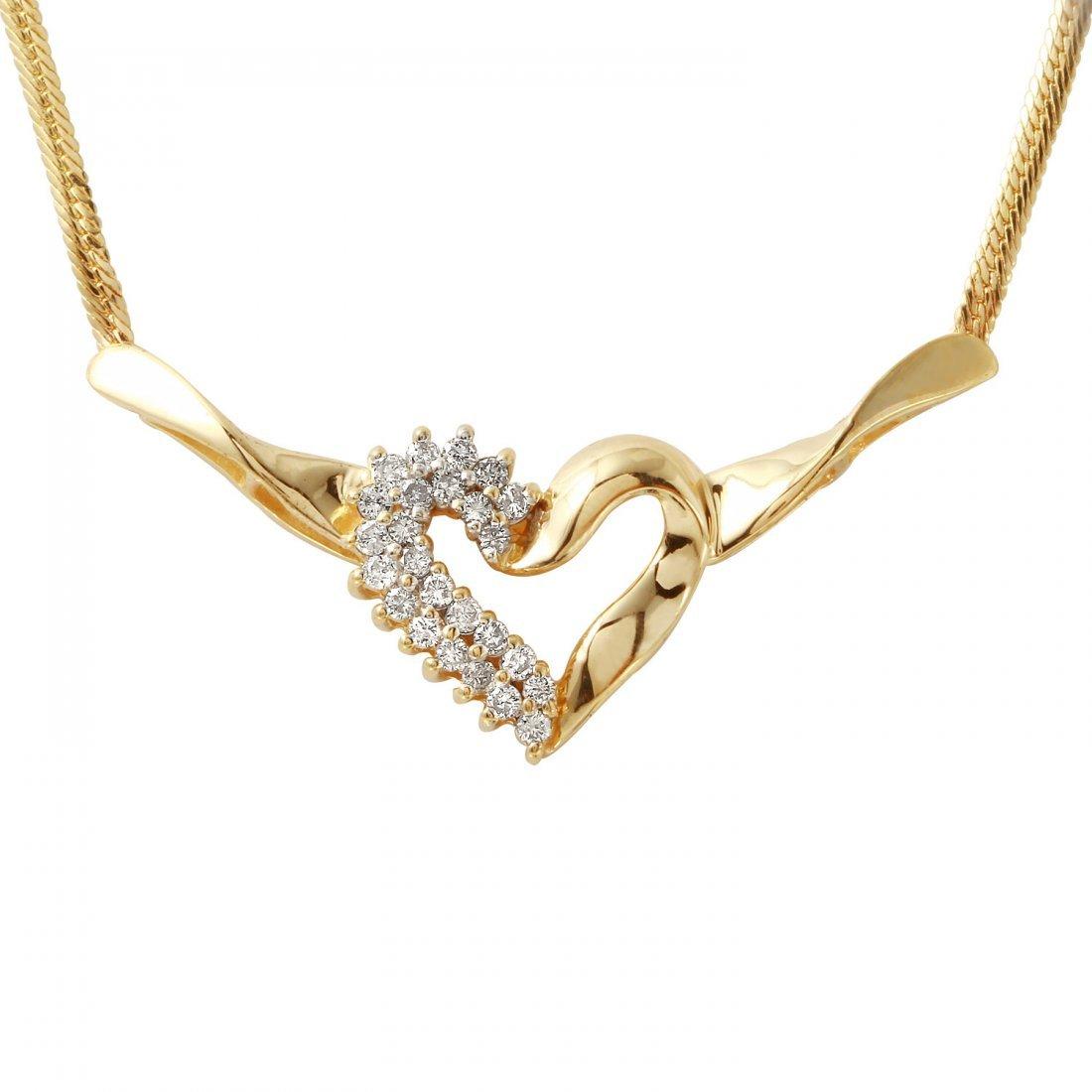 Ladies 0.38CTW Diamond 10k Yellow Gold Necklace