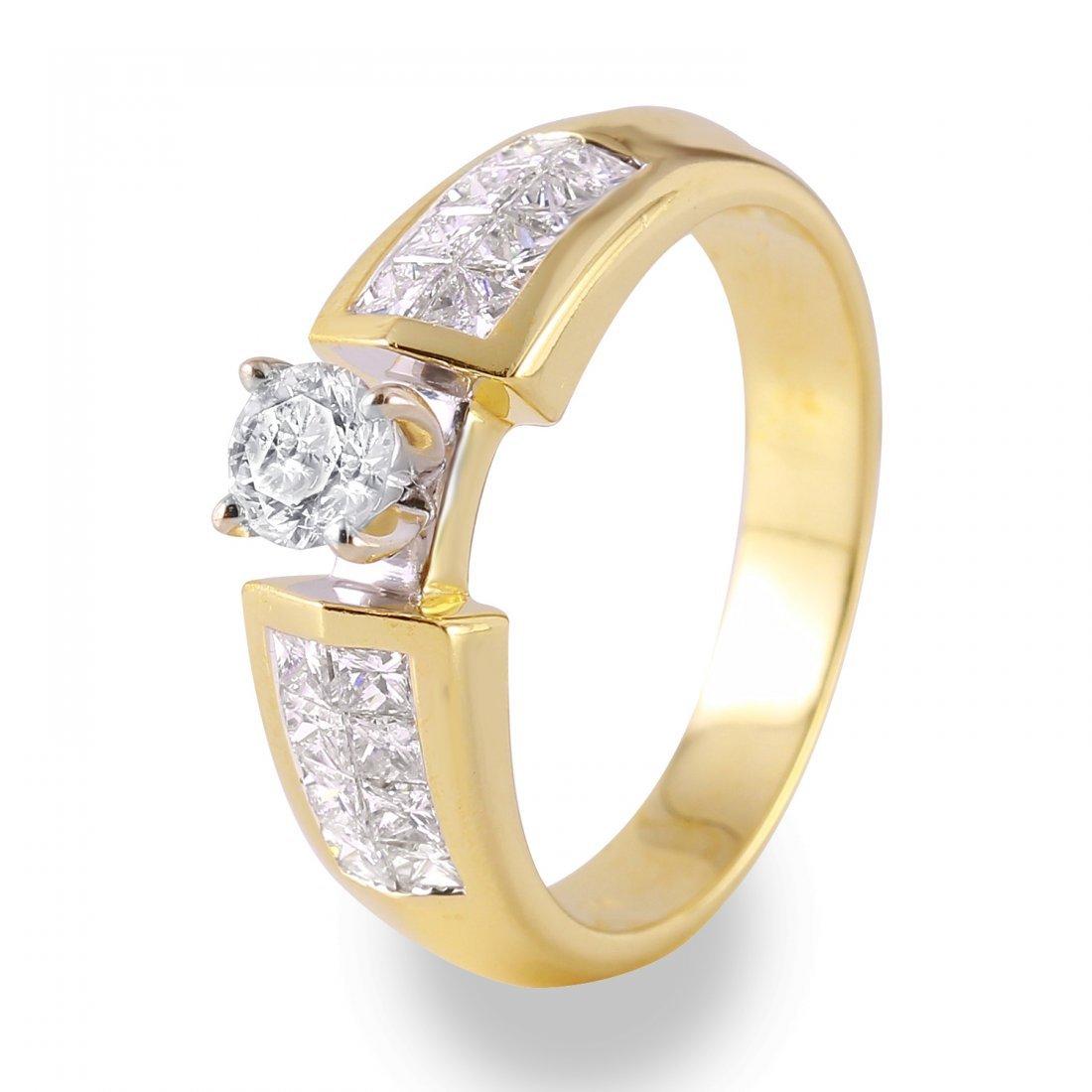 Ladies 1.02CTW Diamond 14K Yellow Gold Ring
