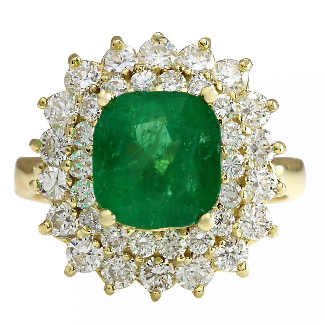 4.34CTW Natural Emerald And Diamond Ring 14K Solid