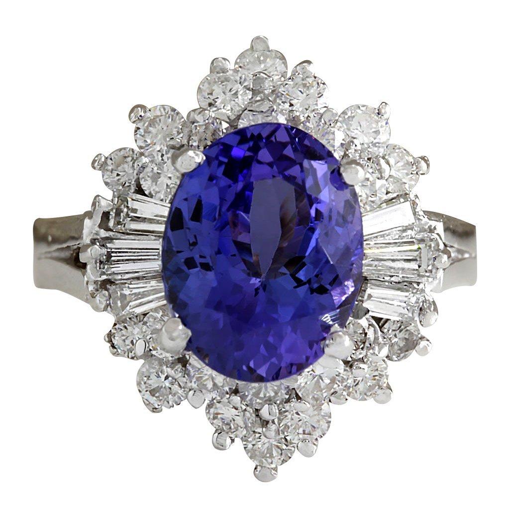 5.31CTW Natural Tanzanite And Diamond Ring 14K Solid