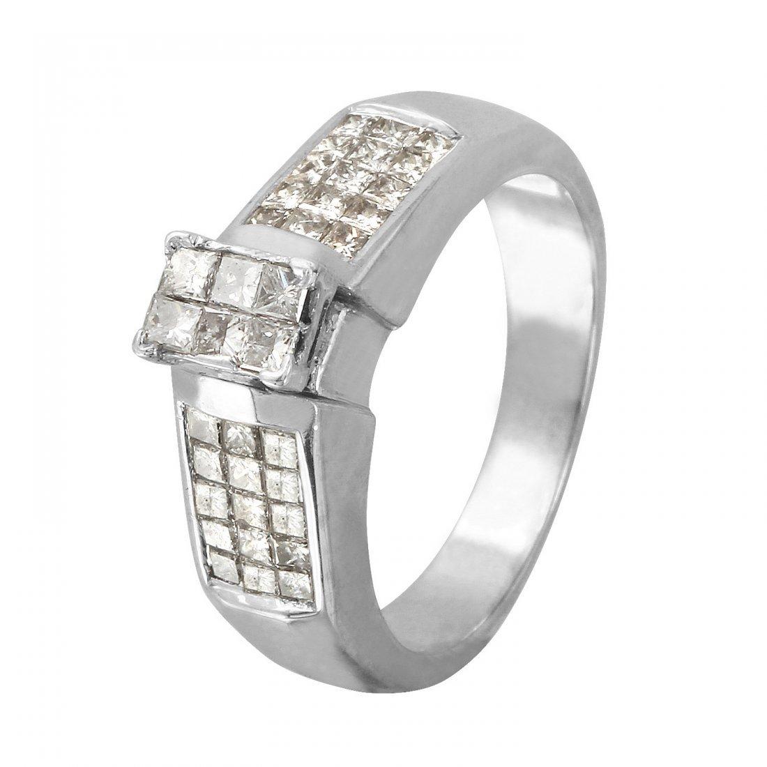 Ladies 1.47CTW Diamond 14K White Gold Ring